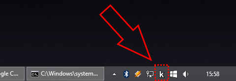 |project|'s icon in the system's tray